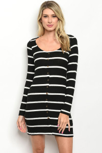 C16-A-7-D5347 BLACK WHITE STRIPES DRESS 2-2-2