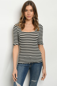 C30-B-5-T1142 OFF WHITE BLACK STRIPES TOP 2-2-2