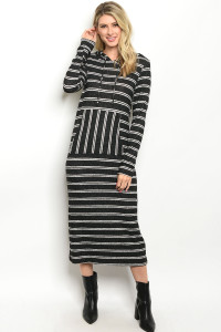 C33-A-4-D5285 BLACK WHITE STRIPES DRESS 2-2-2
