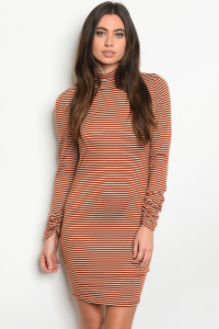 C41-A-2-D5102 RUST WHITE STRIPES DRESS 2-2-2