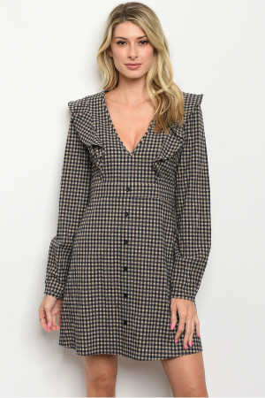S21-5-3-D2051 NAVY TAUPE CHECKERED DRESS 2-2-2