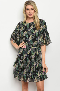 S14-3-2-D2078 BLACK GREEN WITH LEAVES DRESS 2-2-2