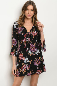 S9-5-2-D2038 BLACK WITH FLOWER PRINT DRESS 2-2-2