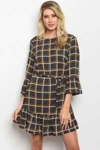 S16-2-3-D2055 CHARCOAL MUSTARD CHECKERED DRESS 2-2-2