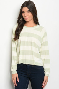 C15-B-3-T33538X SAGE CREAM STRIPES TOP 2-2-2