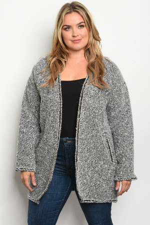 S25-5-1-C7113X GRAY PLUS SIZE JACKET 2-2-2