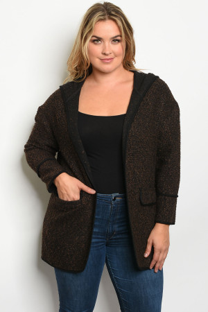 S25-1-1-C7108X BROWN PLUS SIZE JACKET 2-2-2