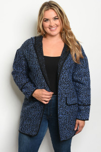 S18-13-2-C7108X BLUE PLUS SIZE JACKET 2-3-1