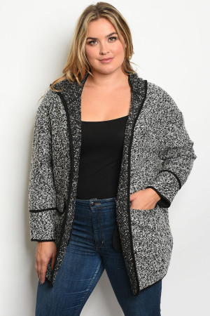 S13-1-1-C7108X GRAY BLACK PLUS SIZE JACKET 2-2-2