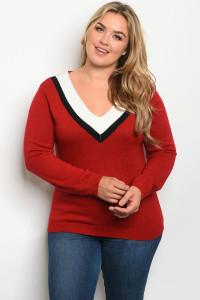 S15-12-2-S2912X BURGUNDY PLUS SIZE SWEATER / 3PCS
