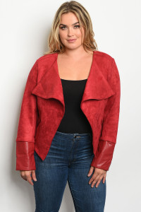 S10-16-3-J7109X BURGUNDY PLUS SIZE JACKET 2-3
