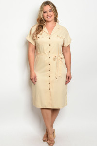 S18-13-4-D7407X CREAM PLUS SIZE DRESS 2-2-2
