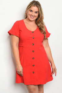 S25-2-4-D7399X RED PLUS SIZE DRESS 2-2-2