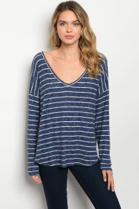 C91-B-5-T91296 NAVY WHITE STRIPES TOP 2-2-2