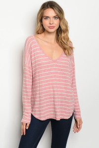 C93-B-2-T91296 BLUSH WHITE STRIPES TOP 2-2-2
