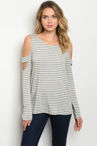 C100-B-5-T91459 GRAY STRIPES TOP 2-2-2