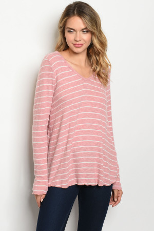 C99-B-1-T91378 MAUVE STRIPES TOP 1-2-2