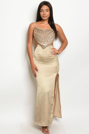 S10-11-3-D7316 NUDE W/ SEQUINS DRESS 3-2-1  ***WARNING: California Proposition 65***
