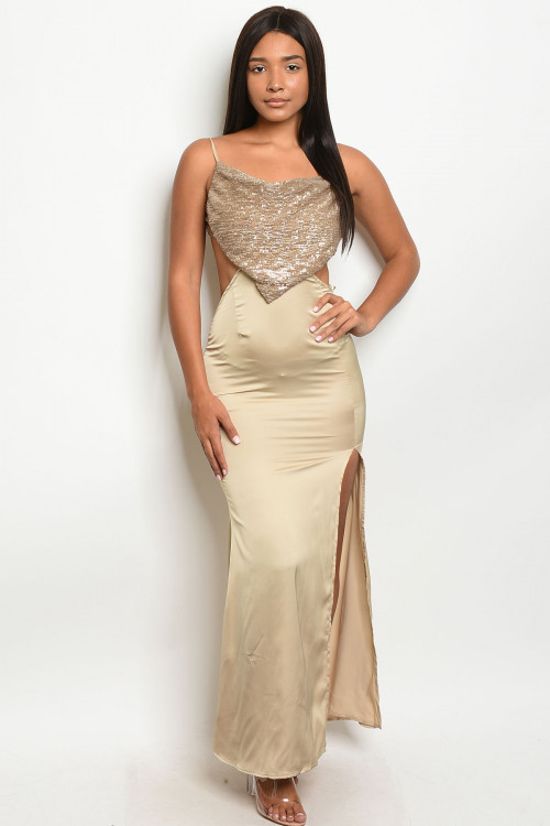 S10-11-4-D7316 NUDE W/ SEQUINS DRESS 3-2-1  ***WARNING: California Proposition 65***