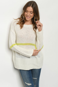 S8-12-2-T20143 IVORY LIME SWEATER 2-2-2