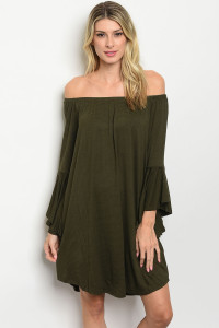 C38-A-7-D9719 OLIVE STRIPES DRESS 2-2-2