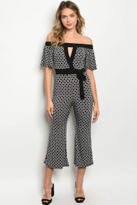C21-A-3-J1568 BLACK WHITE PRINT JUMPSUIT 2-2-2