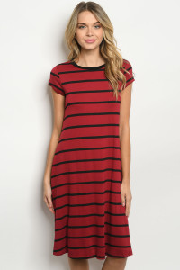 C28-A-1-D1612053 BURGUNDY STRIPES DRESS 2-1-2