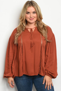 S9-19-3-T81076X BRICK PLUS SIZE TOP 2-1-1