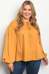 S11-20-5-T81076X MUSTARD PLUS SIZE TOP 2-2-2