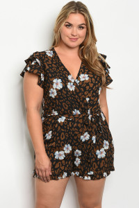 S9-18-2-R81142X BLACK BROWN WITH FLOWER PRINT PLUS SIZE ROMPER 2-2-2