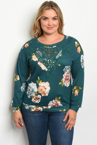 S15-8-3-T32392X GREEN FLORAL PLUS SIZE TOP 2-3-3