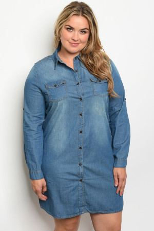 S9-13-1-D5004X BLUE DENIM PLUS SIZE DRESS 3-2-1