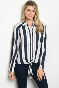 S19-11-3-T18879 NAVY OFF WHITE STRIPES TOP 3-2-2