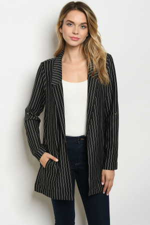 S11-4-1-J2568 BLACK WHITE STRIPES JACKET 2-2-2