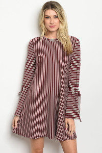 S11-12-4-D32681 WINE STRIPES DRESS 2-2-2
