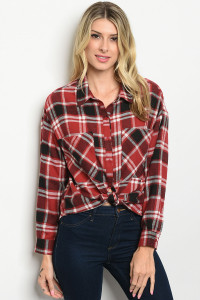 S19-1-1-T31878 BURGUNDY CHECKERED TOP 3-2-1