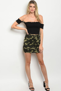 S19-3-1-S32125 OLIVE CAMOUFLAGE SKIRT 3-2-1