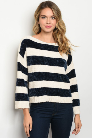 S10-7-1-S3473 NAVY IVORY STRIPES SWEATER 2-2