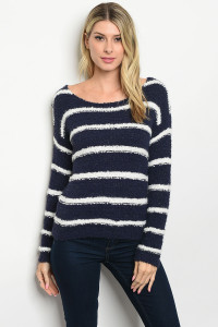 S22-7-1-S2328 NAVY WHITE STRIPES SWEATER 3-4