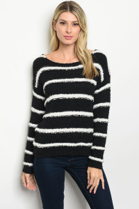 S22-7-1-S2328 BLACK WHITE STRIPES SWEATER 1-2