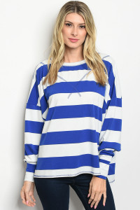 S10-20-5-T11076 BLUE WHITE STRIPES TOP 2-2-2