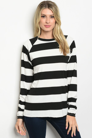 S14-9-2-T11092 IVORY BLACK STRIPES TOP 2-2-3