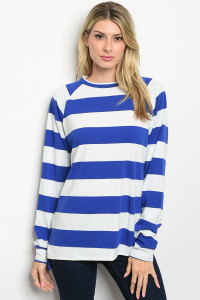 S22-7-4-T11092 IVORY BLUE STRIPES TOP 2-2-2