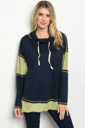 S14-9-2-T20141 NAVY SAGE TOP / 2PCS