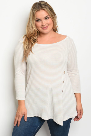 S8-13-2-T11304X TAUPE STRIPES PLUS SIZE TOP 2-2-2
