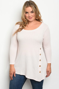 S10-16-3-T11304X PEACH STRIPES PLUS SIZE TOP 3-2-2