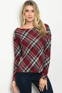 S10-16-3-T10031 BURGUNDY CHECKERED TOP 2-3-2