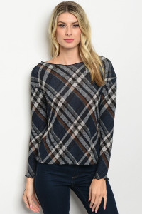 S10-4-4-T10031 NAVY CHECKERED TOP 2-2-2