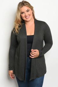C39-A-2-C3174X CHARCOAL PLUS SIZE CARDIGAN 2-2-2