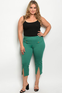 S23-13-5-P1187X GREEN PLUS SIZE PANTS 2-2-2
